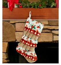 "Pioneer Woman VINTAGE JOLLY ROSEBUD  Ruffle 20"" Christmas Stocking NEW"