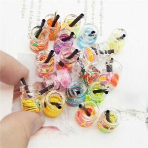 20pack Mixed Fruit Slice Juice Glass Bottle Pendants Charms Jewelry DIY Findings
