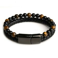 Bracelet pour homme et femme en perles et cuir noir 23/21/19 cm