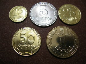 2014 Ukraine Annual Coin Set of 5,10,25,50 kopiyok and 1 hryvnia from ROLL !