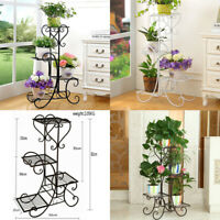 4 TIER Black Floor-Standing Wrought Iron Pot Plant Stand Flower Planter S-Design