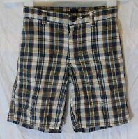 Boys Gap Blue Brown Check Adjustable Waist Long Board Cotton Shorts Age 5 Years