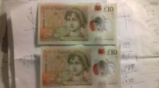 2 Consecutive £10 pound notes,plastic,Ten,CC15 series,Uncirculated,brand new