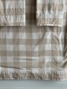LL Bean Flannel Flat Sheet 2 Std Pillowcases Tan Buffalo Check Plaid King