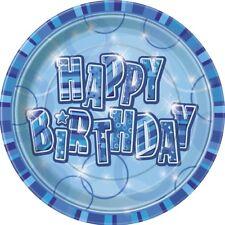 8 Stück Einweg Pappteller 23 cm Ø Geburtstagsteller Blau Glitzer HAPPY BIRTHDAY