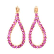 Sterling Silver Rose Gold Finish Lab-created Ruby Women's Twisted Hoop Earring