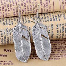 """Elegant 925 Sterling Silver Eagle Hawk Falcon Bird Feathers 2.25"""" Hook Earrings"""