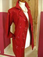 Ladies BARISAL red MAC JACKET size UK 10 12 double breasted coat shiny macintosh