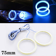 75mm LED Ice Blue COB Angel Eye Halo Car Ring Headlight DRL Lamp Super Bright