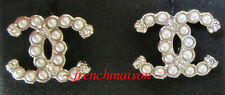 AUTHENTIC CHANEL CC Logo Gold Earrings Pearl Crystal 2019 Fall New