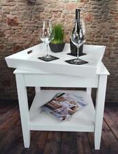 Tabletttisch Beistelltisch Couchtisch Tablett 50 x 50 cm Landhaus Weiß LV4050