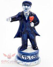 Gzhel Porcelain Figurine Vladimir Lenin slogan All power to the soviet handmade