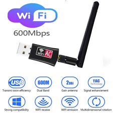 AC600 Mbps Dual Band 2.4/5Ghz Wireless USB WiFi Network Adapter w/Antenna 802.11