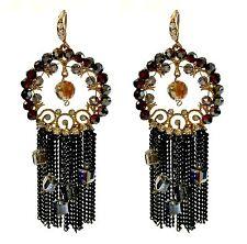 Ladies' dark red sequin drop earrings