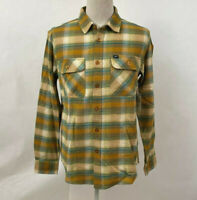 Obey Men's LS Woven Button Down Shirt South Pass Golden Brown/Teal Size M NWT