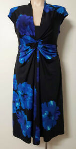 WOMAN Brand Dress 18 Ruched Floral on Black Knee Length Stretch Fit & Flare