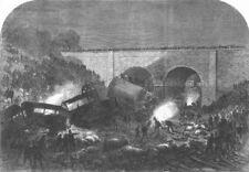 DERBYS. Rail accident at New Mills, Peak Forest line, antique print, 1867