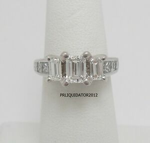 2CT Diamond Emerald Solitaire Engagement Wedding Bridal Ring Band 18K White Gold