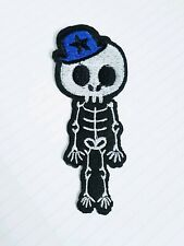 Boy skeleton skull rock gothic iron on hotfix Sew on Applique Motif Patch