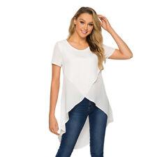 Women Chiffon T-Shirt Loose Short Sleeve Tops Irregular Hem Blouse Tee Summer
