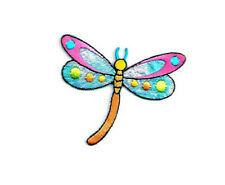 Dragonfly - Insect - Polka Dots - Embroidered Iron On Applique Patch - L