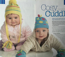 KNITTING PATTERN 2 Baby Hat & Mittens Set Spotted Striped Babies Patons Gloves