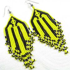 NEW WOMEN HANDMADE YELLOW BLACK GLASS BEADED FASHION HOOK EARRINGS E8/9