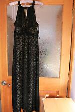 NWT SOHO Apparel Ltd Evening Formal Halter Lace Black Full-Length Dress S 10