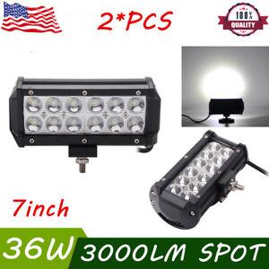 2x 7INCH 36W LED WORK LIGHT BAR SPOT BEAM 12V 24V OFFROAD ATV TRUCK FOG LAMP 4WD