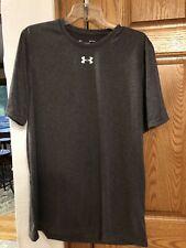 Under Armour Heat Gear Mens Dark Gray Short Sleeve Crew T Shirt Med Fit Heather