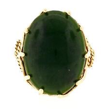 Vintage 10k Oro Amarillo Grande Ovalado Jade Anillo con / Alambre Trenzado &