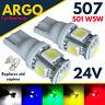 24v Side Light 507 501 W5W 5 SMD Led T10 Hella Spot Capless Bulbs HGV Truck 505