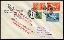 89/Zeppelin Uruguay 1932 8. Südamerikafahrt MiF Brief Montevideo Apolda Si 192