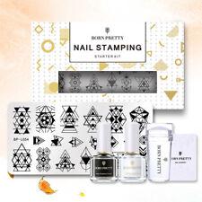 BORN PRETTY Stamping Kit Nagel Schablone Stempellack Nagellack Stamper & Scraper