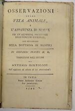 MEDICINA - figur. 1795 - FRANKS - Comino - prima edizione - VITA ANIMALE