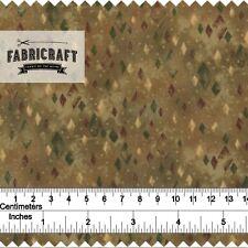 Green/Brown Diamond Geometric - 1 metre 100% cotton fabric