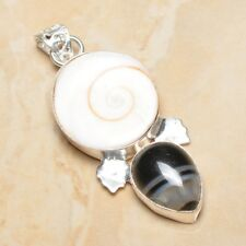 "Handmade Shiva Eye Shell Gemstone Pure 925 Sterling Silver Pendant 2.25"" #P16932"