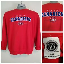 NHL Montreal Canadiens Habs Adult Large Pullover Sweatshirt Red Raw Cut Cuffs