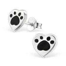 Sterling Silver 925 Black Dog / Cat Paw Print Heart Stud Earrings