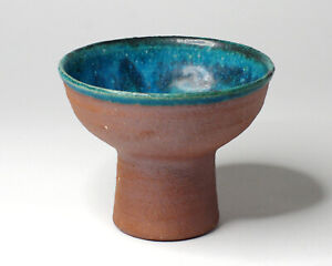 Japanese Wood Fired Turquoise Glazed Studio Pottery Bajohai / Stem Bowl, Signed