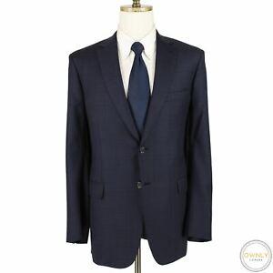 NWOT CURRENT Brioni Blue Wool Plaid Top Stitch Dual Vents 2Btn Suit 42L