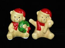 Vintage Christmas Brown Teddy Bear Salt and Pepper Shaker Set  Taiwan