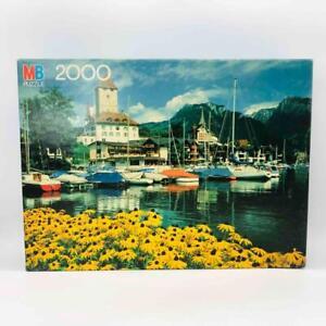 New, Vintage MB 2000-Piece Magnum Puzzle Berner Oberland, Germany Sailboats 1982
