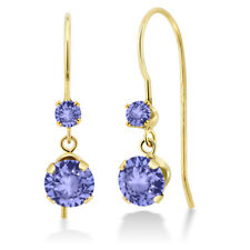 1.08 Ct Round Blue Tanzanite 14K Yellow Gold Earrings