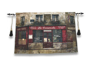 Paris Forgotten Tapestry Wall Hanging with Decorative Rod 52 In. X 35.5 In.