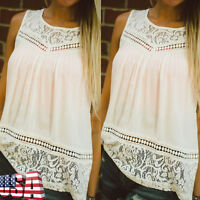 Women Summer Casual Vest Top Sleeveless Lace Splice Blouse Tank Tops T-Shirt US