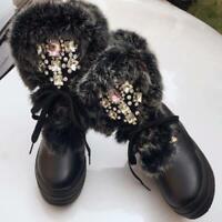 Rhinestone Women Warm Snow Boots Genuine Leather Rabbit Fur Mid-calf Boots Shoe