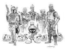 "Star Wars, Marvin the Martian, Parody, Fan Art mash up, 11x17"" signed print"