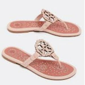 NIB Tory Burch Miller Leather Scallop Logo Flat  Sandal Thong SEA SHELL $228
