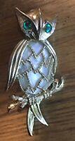 Vintage Owl Brooch Pin w Green Rhinestone Eyes Mother of Pearl Body Unmarked